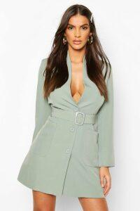 Womens Belted Pocket Detail Blazer Dress - Green - 14, Green