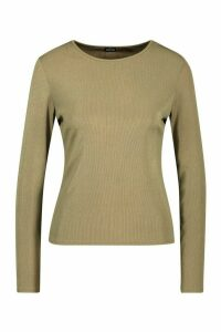 Womens Rib Long Sleeve Basic Crew Neck Top - green - 16, Green