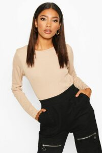 Womens Rib Long Sleeve Basic Crew Neck Top - beige - 14, Beige