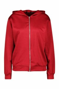 Womens Basic Zip Through Hoody - red - 18, Red