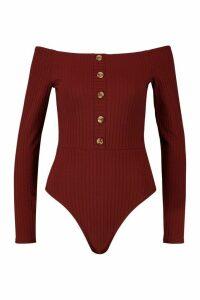 Womens Bardot Rib Horn Button Long Sleeve Bodysuit - red - 6, Red