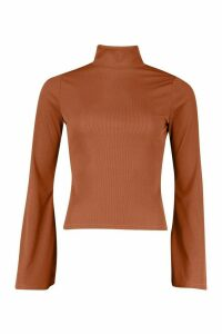 Womens Rib roll/polo neck Flare Sleeve Top - brown - 6, Brown