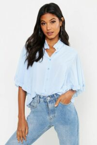 Womens Woven Ruffle angel Sleeve Blouse - blue - 8, Blue