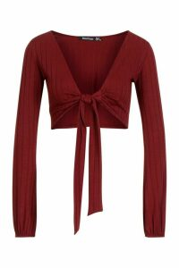 Womens Ribbed Tie Front Blouson Sleeve Top - red - 16, Red