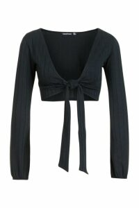 Womens Ribbed Tie Front Blouson Sleeve Top - black - 6, Black