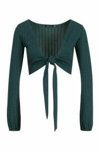 Womens Ribbed Tie Front Blouson Sleeve Top - green - 6, Green
