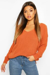 Womens Oversized V Neck Jumper - beige - M, Beige