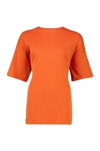 Womens Basic Washed Oversized T-Shirt - orange - M, Orange