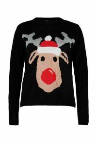 Womens Petite Reindeer Christmas Jumper - black - M, Black