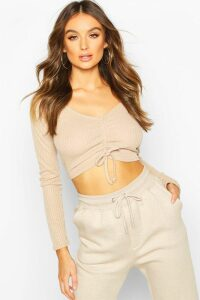 Womens Ribbed Ruched Crop Top - beige - 6, Beige