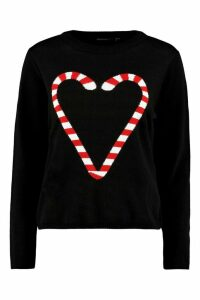 Womens Petite Candy Cane Heart Christmas Jumper - black - M, Black