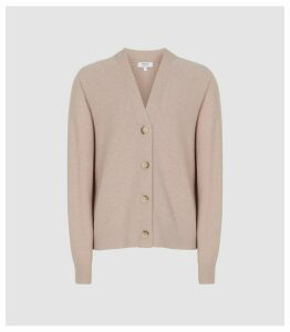 Reiss Simone - Wool Cashmere Blend Cardigan in Blush, Womens, Size XL