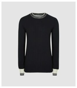 Reiss Bella - Tipped And Cuffed Jumper in Navy, Womens, Size XL