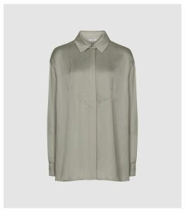 Reiss Rocco - Satin Shirt in Green, Womens, Size 16