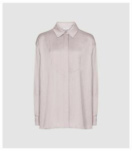 Reiss Rocco - Satin Shirt in Lilac, Womens, Size 16
