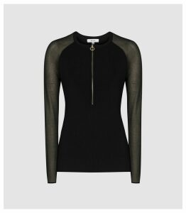 Reiss Lola - Zip Neck Top With Sheer Sleeves in Black, Womens, Size XL