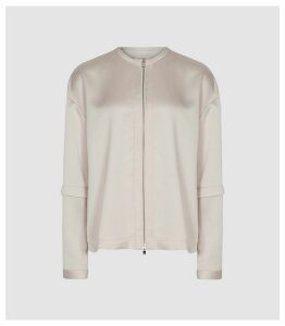 Reiss Lulu - Satin Zip Through Blouse in Oyster, Womens, Size 16