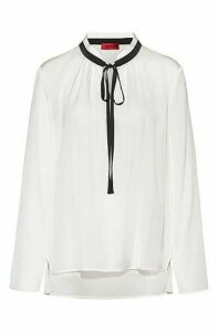Regular-fit blouse with tie neck in stretch silk