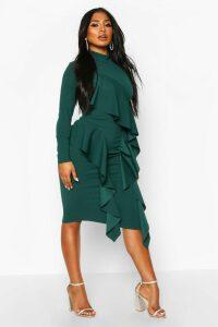 Womens High Neck Ruffle Front Midi Dress - Green - 10, Green