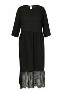 Womens Plus Lace Hem Ruffle Midi Dress - Black - 22, Black