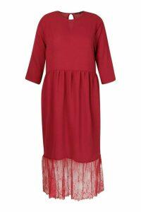 Womens Plus Lace Hem Ruffle Midi Dress - Red - 20, Red