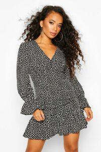 Womens Petite Smudge Print Volume Sleeve Mini Dress - black - 14, Black