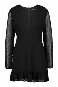 Womens Petite Dobby Mesh Plunge Bodycon Dress - black - 10, Black