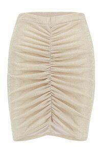 Womens Woven Glitter Rouched Mini Skirt - Metallics - 14, Metallics