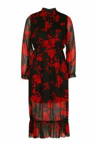 Womens Floral Print Ruffle Neck Midaxi Dress - black - 10, Black