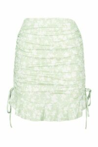 Womens Recycled Floral Print Ruched Skirt - green - 16, Green