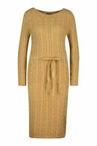 Womens Cable Knit Midi Dress - beige - L, Beige