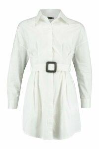 Womens Belted Shirt Dress - White - 14, White