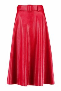 Womens Leather Look Self Belt Skater Skirt - Red - 16, Red