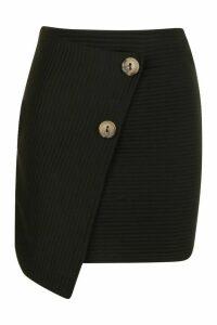 Womens Wrap Front Mini Skirt In Jumbo Jersey - black - 14, Black