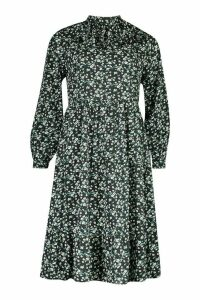 Womens High Neck Ruffle Midi Dress - black - 16, Black