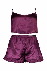 Womens Satin Crop Vest & Short Set - purple - 14, Purple