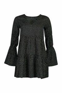 Womens Petite Sheered Sleeve Polka Dot Smock Dress - black - 14, Black