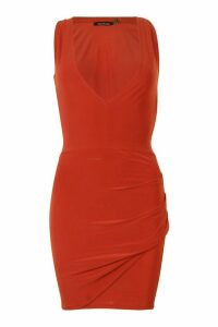 Womens Double Lined Plunge Front Dress With Cut Out - orange - 14, Orange