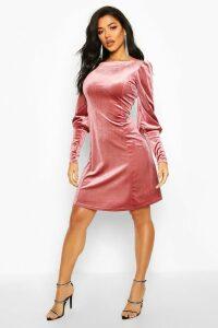 Womens Deep Cuff Fit And Flare Mini Dress - Pink - 14, Pink