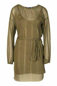 Womens Metallic Thread Belted Shift Dress - green - 14, Green