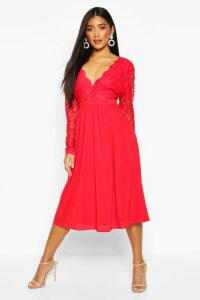 Womens Lace Top Midi Skater Dress - Red - 16, Red