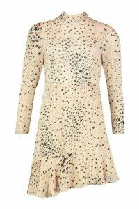Womens Satin Star High Neck Asymetric Hem Mini Dress - Pink - 8, Pink