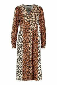 Womens Leopard Print Button Through Midi Dress - black - 12, Black