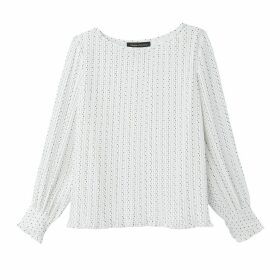 Printed Pleated Blouse with Long Sleeves