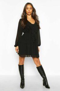 Womens Chiffon Ruffle Front Smock Dress - black - 16, Black