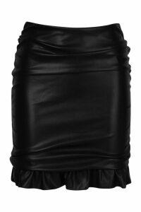 Womens Leather Look Ruched Mini Skirt - black - M, Black