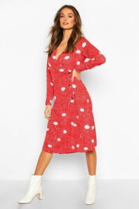 Womens Spot Print Button Wrap Midi Dress - red - 8, Red