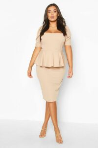 Womens Plus Peplum Puff Sleeve Midi Dress - Beige - 20, Beige