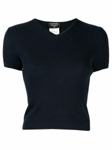Chanel Pre-Owned 1998 ribbed CC top - Blue