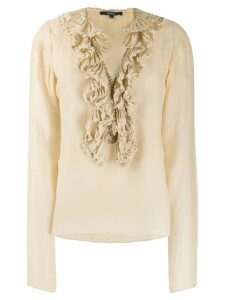 Gucci Pre-Owned ruffled blouse - NEUTRALS